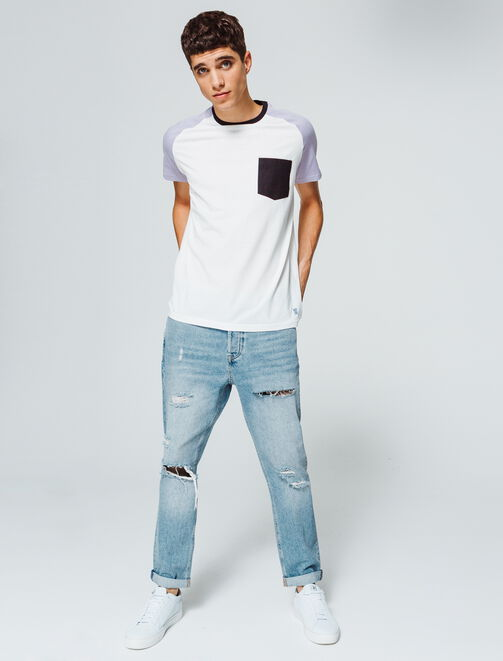 Jean straight cropped homme