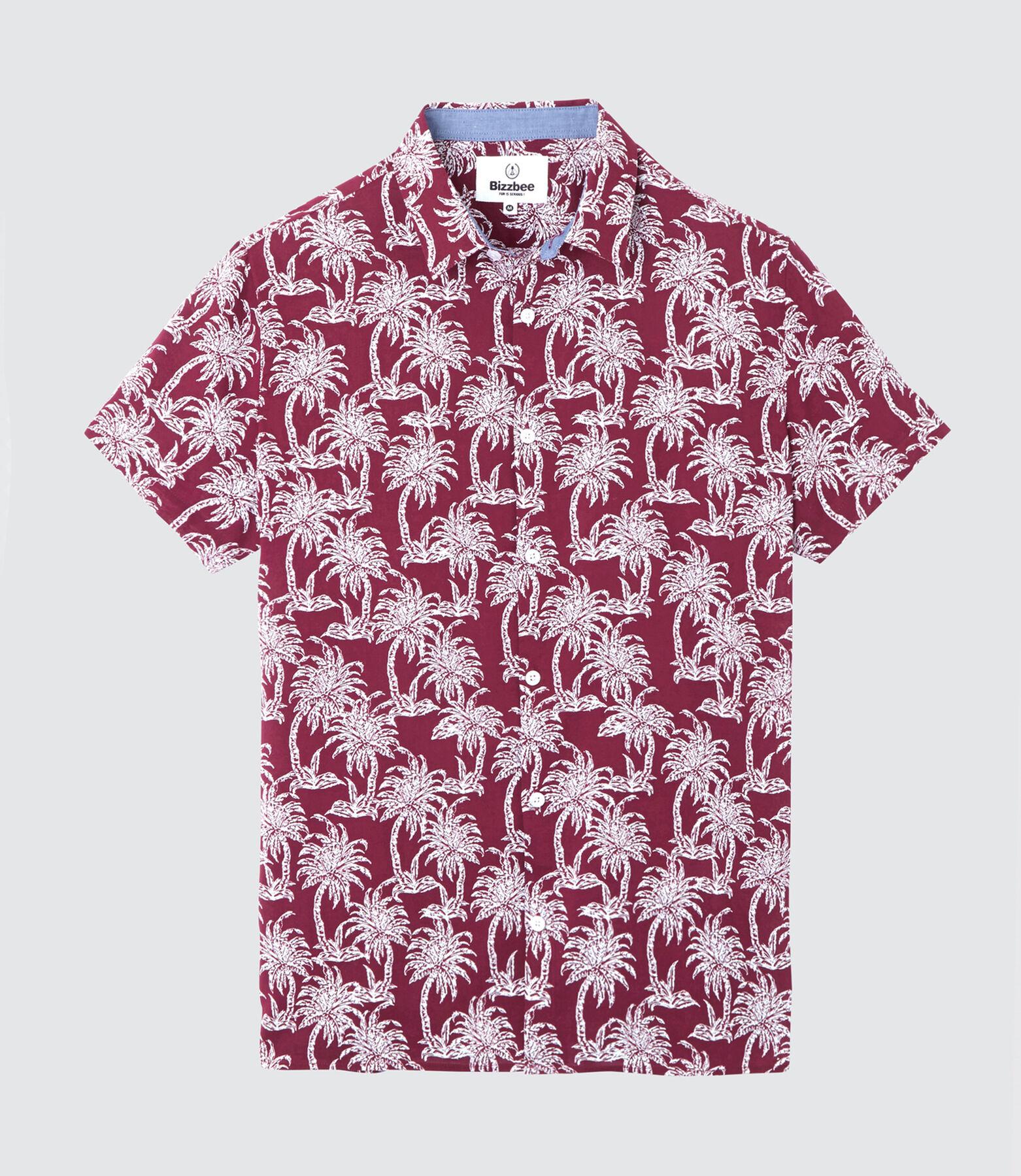 Chemise manches courtes imprimée palmiers.