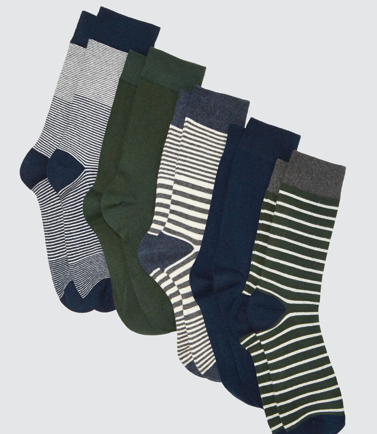 Lot de 5 Chaussettes Hautes Rayées Vertes