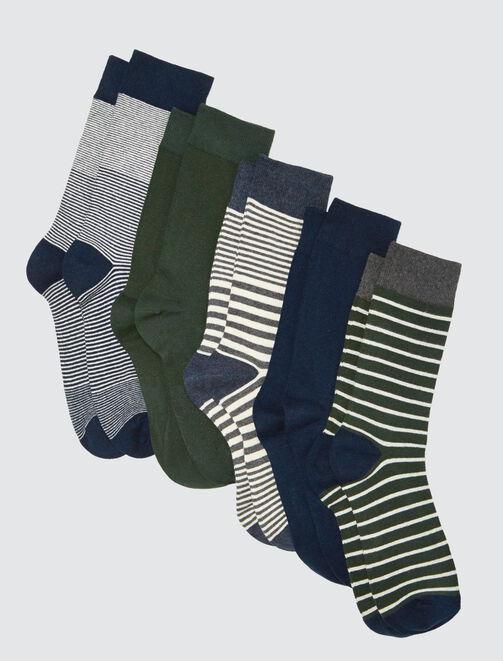 Lot de 5 Chaussettes Hautes Rayées Vertes homme