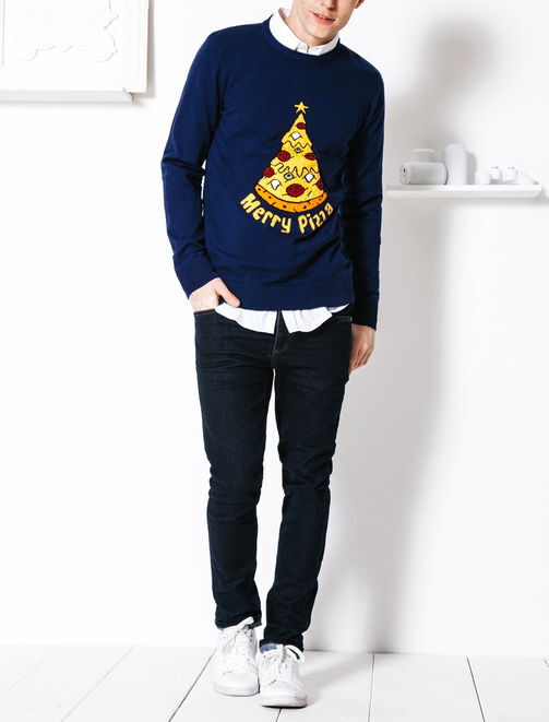 """Pull jacquard """"Merry Pizza"""" homme"""