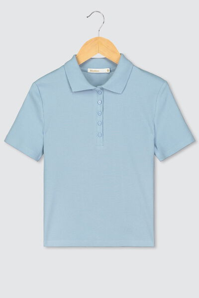 Polo cropped à côtes en coton bio
