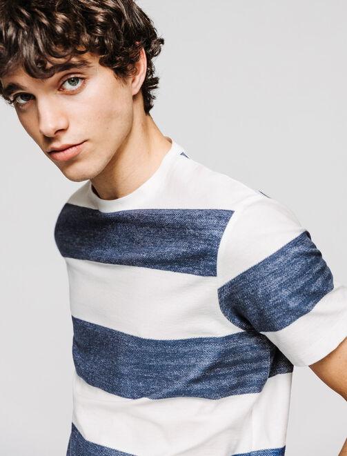 T-shirt rayures chevron bicolores homme
