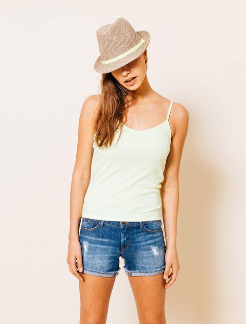 Chapeau de paille tresse fluo femme