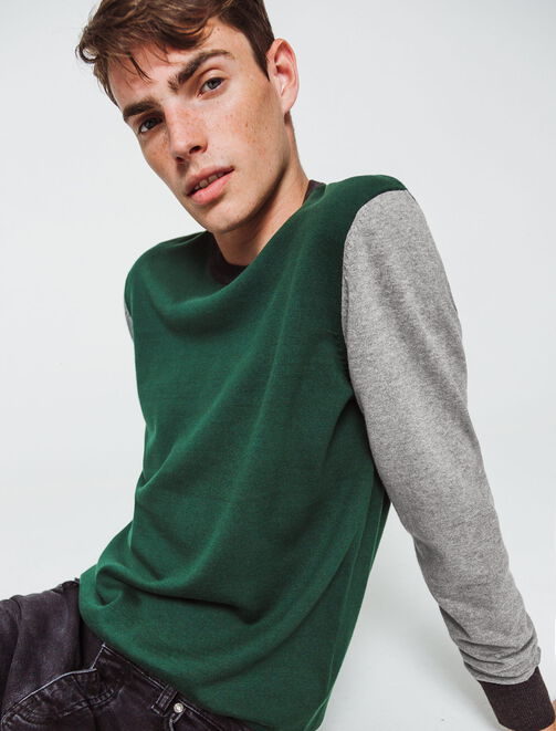 Pull colorblock manches contrastées homme