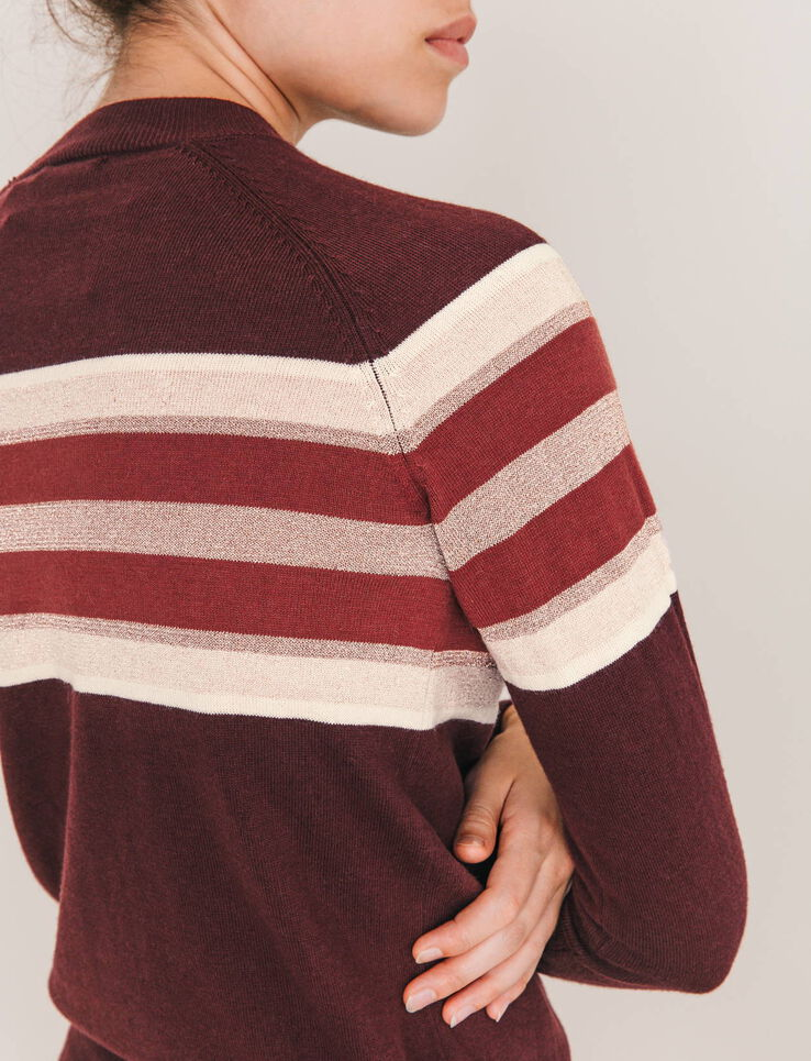 Pull col montant rayures placées poitrine lurex