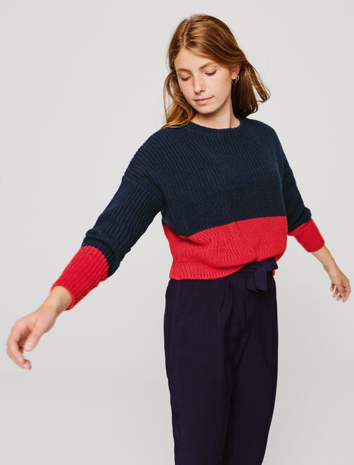 Pull cropped bicolore  femme