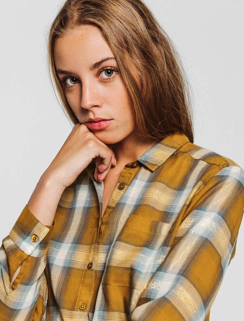 Chemise fluide à carreaux  femme