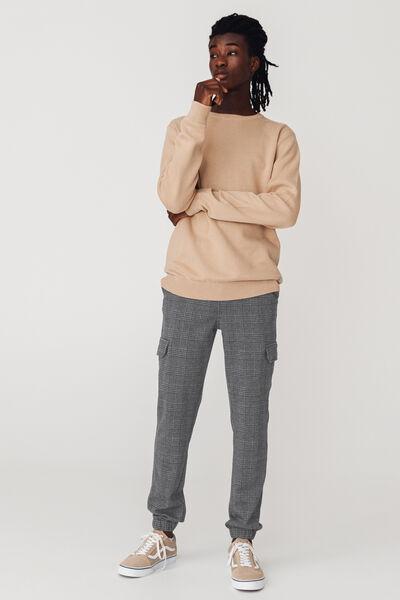 Pantalon cargo carreaux matière fantaisie