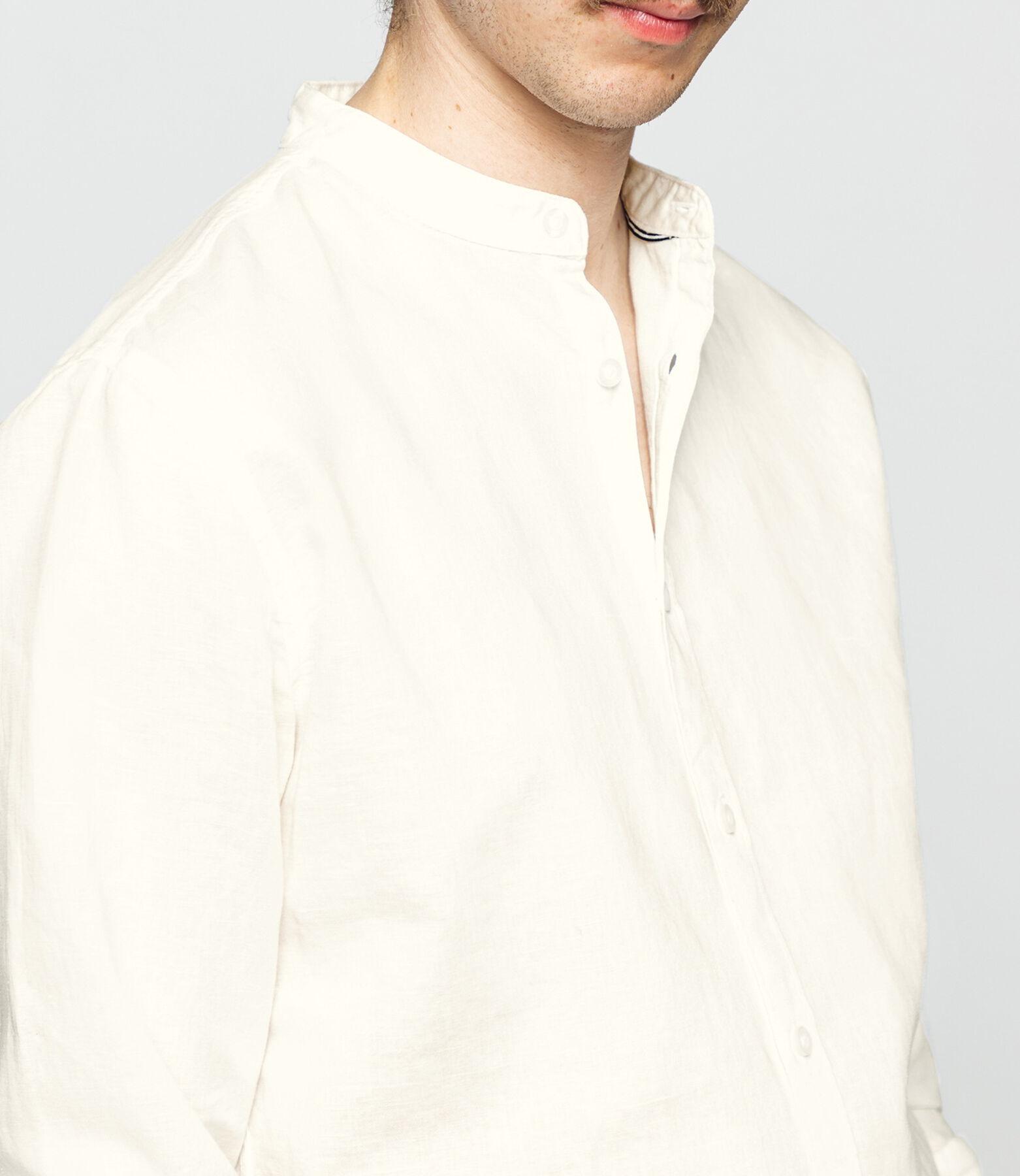 Chemise col mao en coton lin