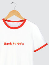 "T-shirt print ""Back to 90's"" en coton bio"