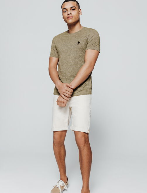 T-shirt mouliné broderie poitrine homme