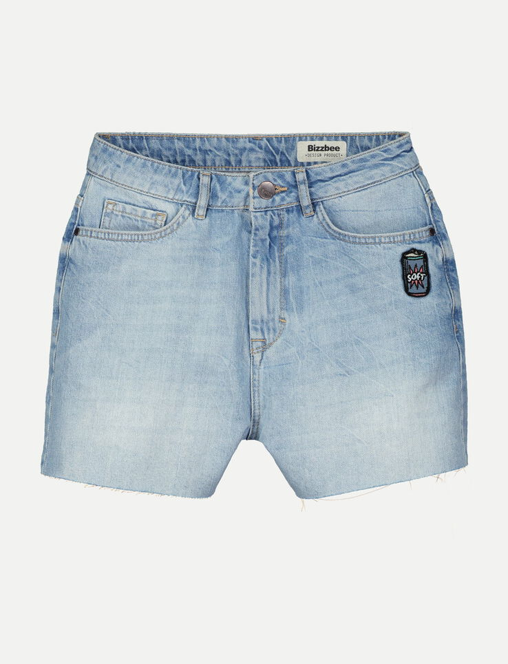 Short denim patch brodé