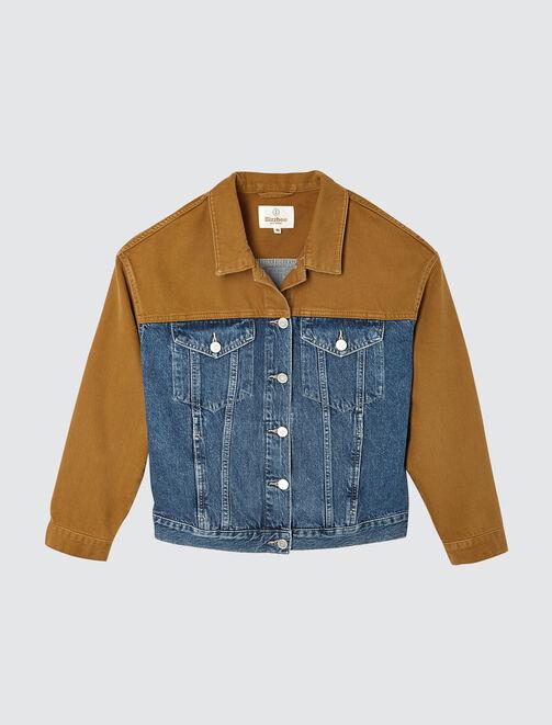 veste denim color block  femme