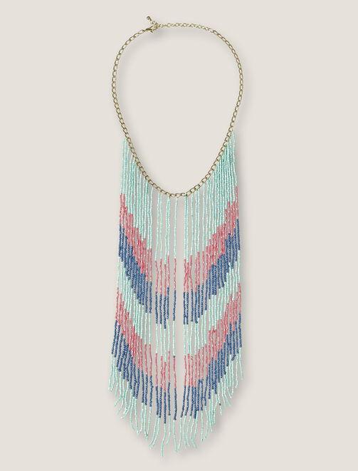 Collier long frangé perles femme