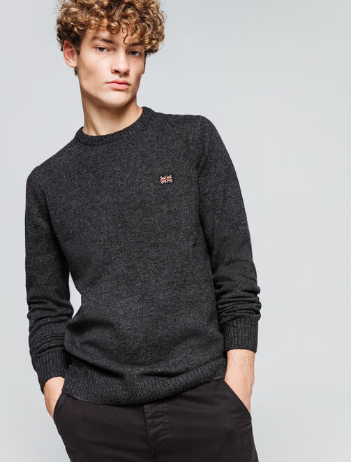 Pull col rond en laine homme