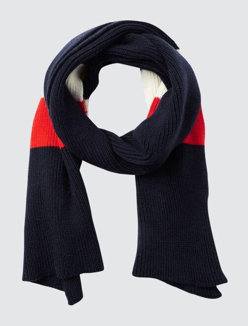 Echarpe tricot bleu blanc rouge  femme