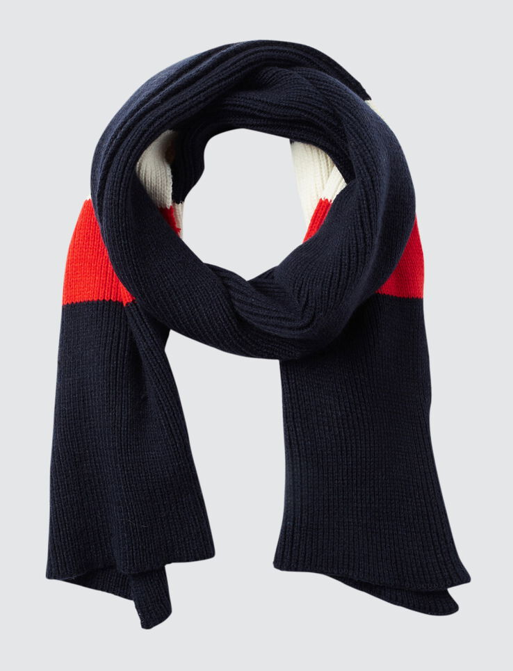 Echarpe tricot bleu blanc rouge