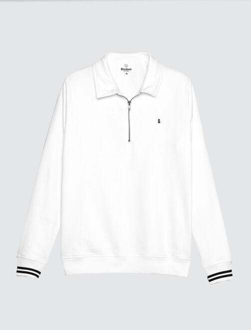 Sweat uni col chemise homme