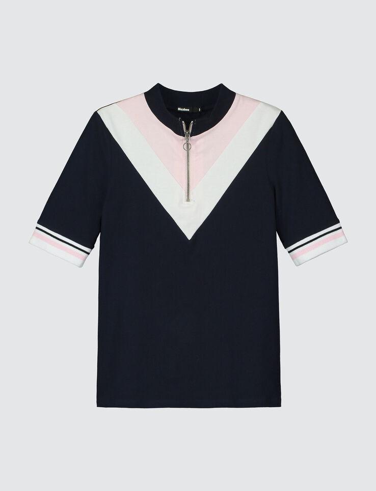T-shirt colorblock col montant zippé