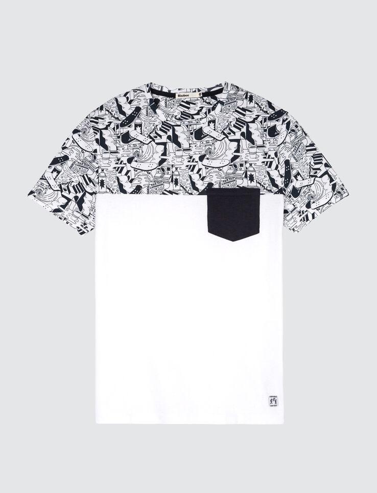 T-shirt colorblock imprimé