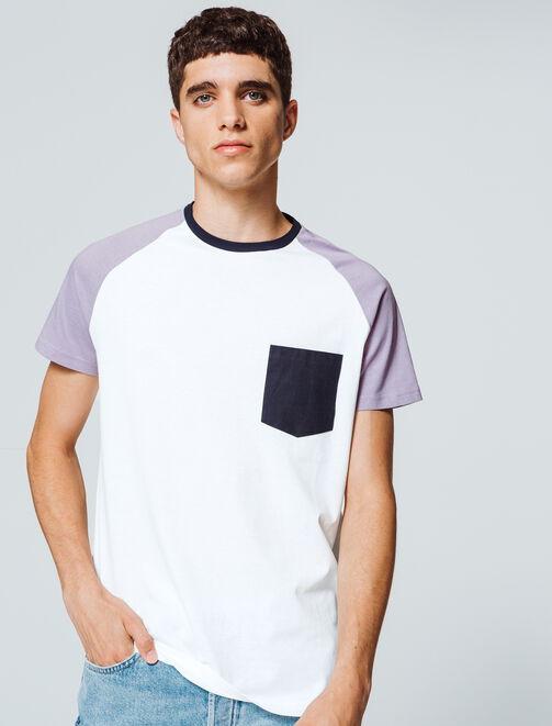T-shirt uni poche contrastante homme