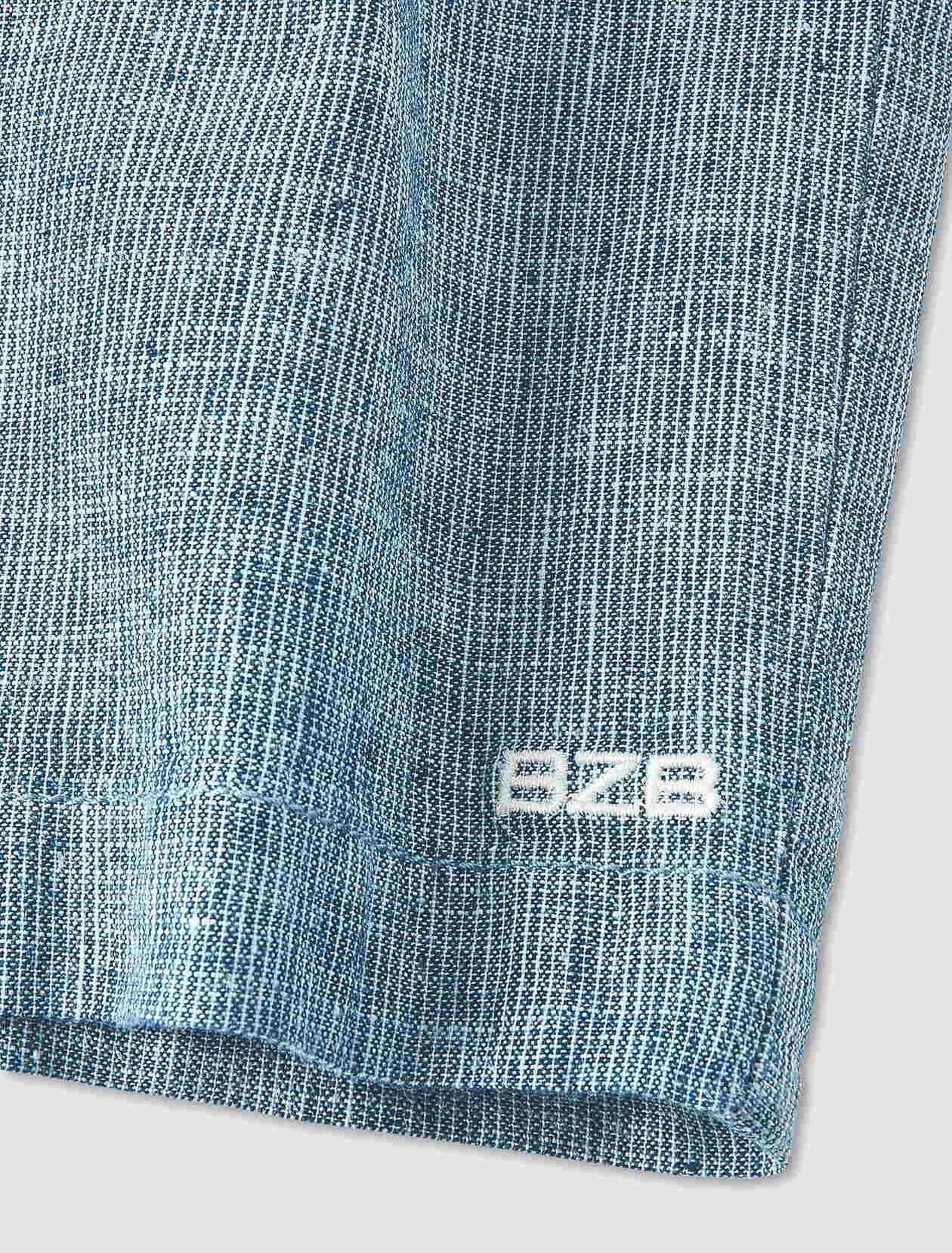 Bermuda rayé en coton lin