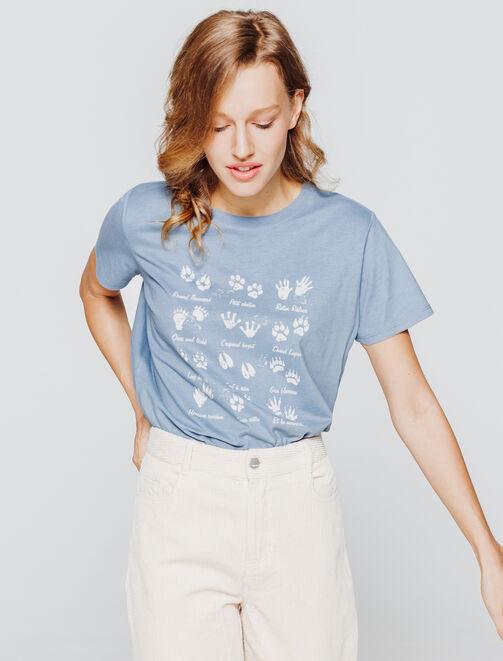 T-shirt imprimé pattes d'animaux femme