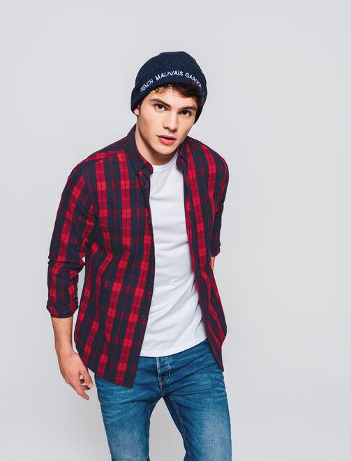 Chemise à carreaux bicolore homme