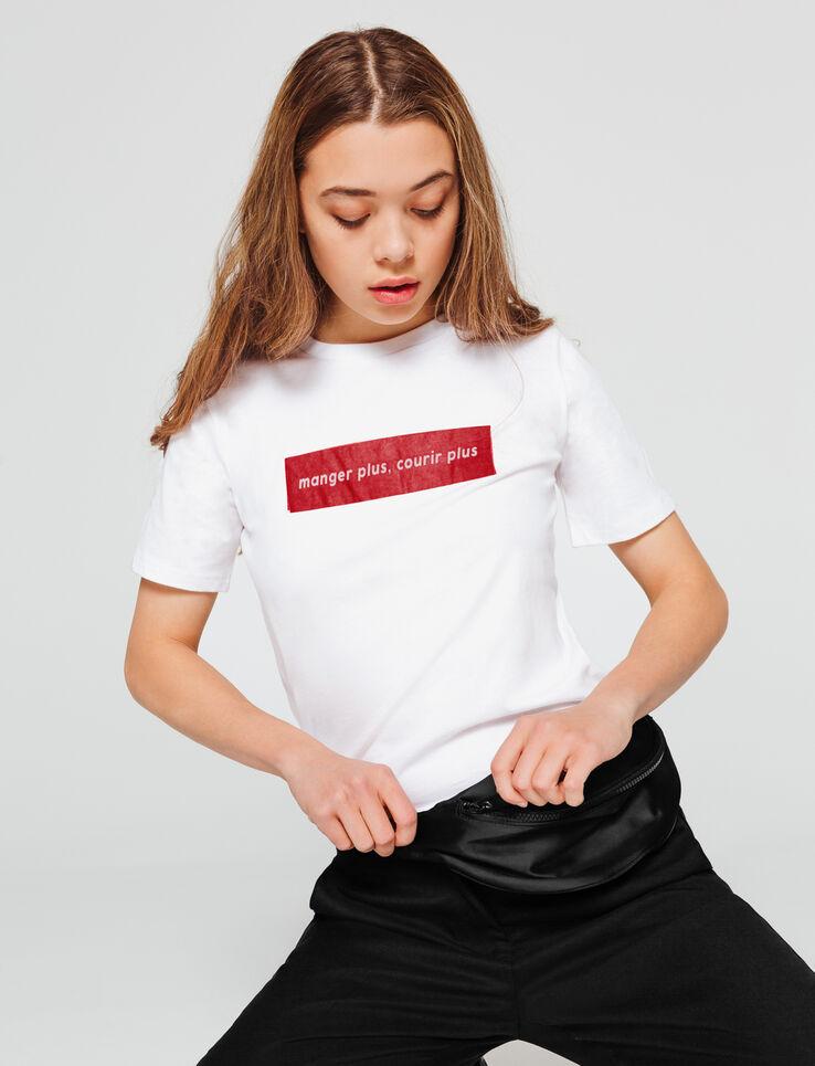 """T-shirt à message """" manger plus, courir plus"""""""