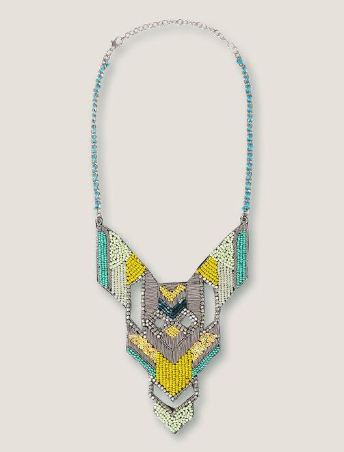 Collier plastron géométrique et perles femme