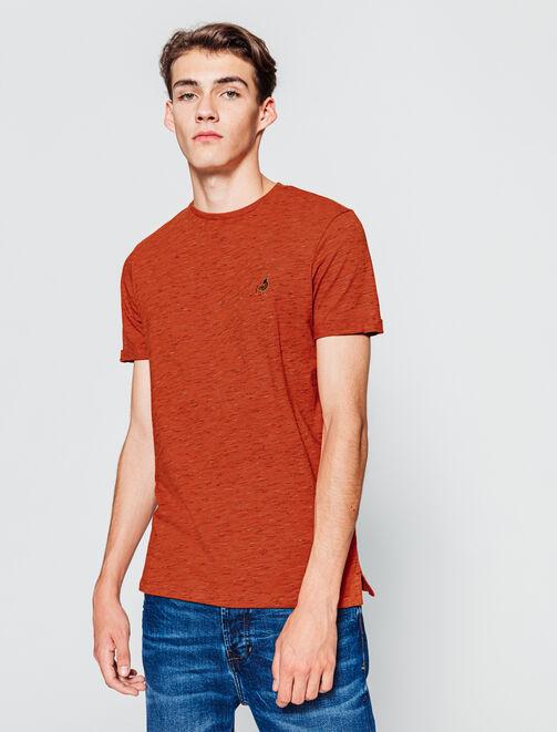 T-shirt manches courtes injecté avec broderie poit homme