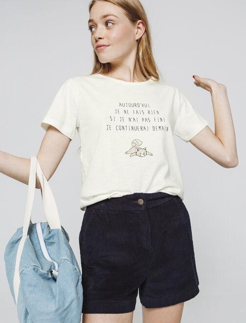 """T-shirt à message """" aujourd'hui je ne fais rien... femme"""