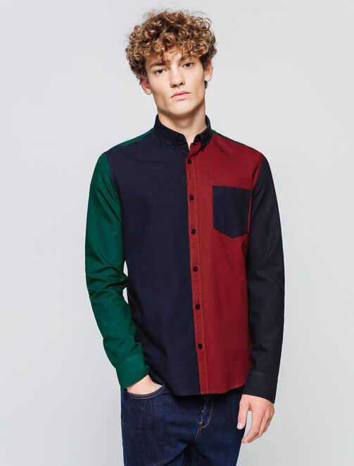 Chemise colorblock homme
