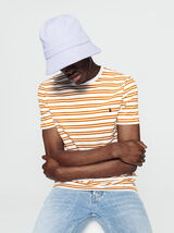 T-shirt à rayures et broderie