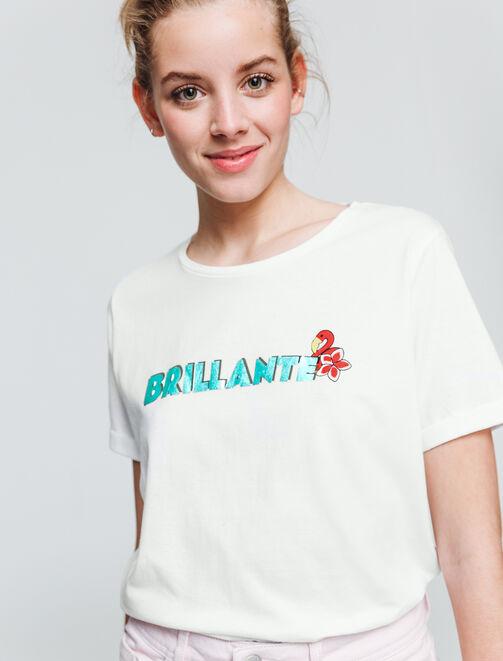 "T-shirt message ""Brillante""  femme"