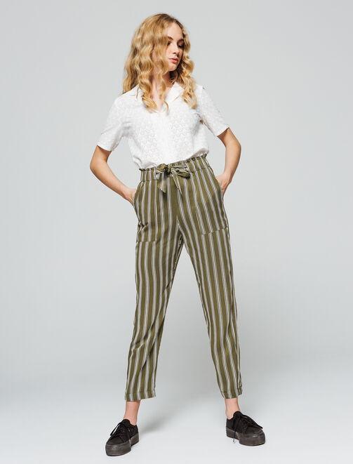 Pantalon fluide rayé taille haute femme
