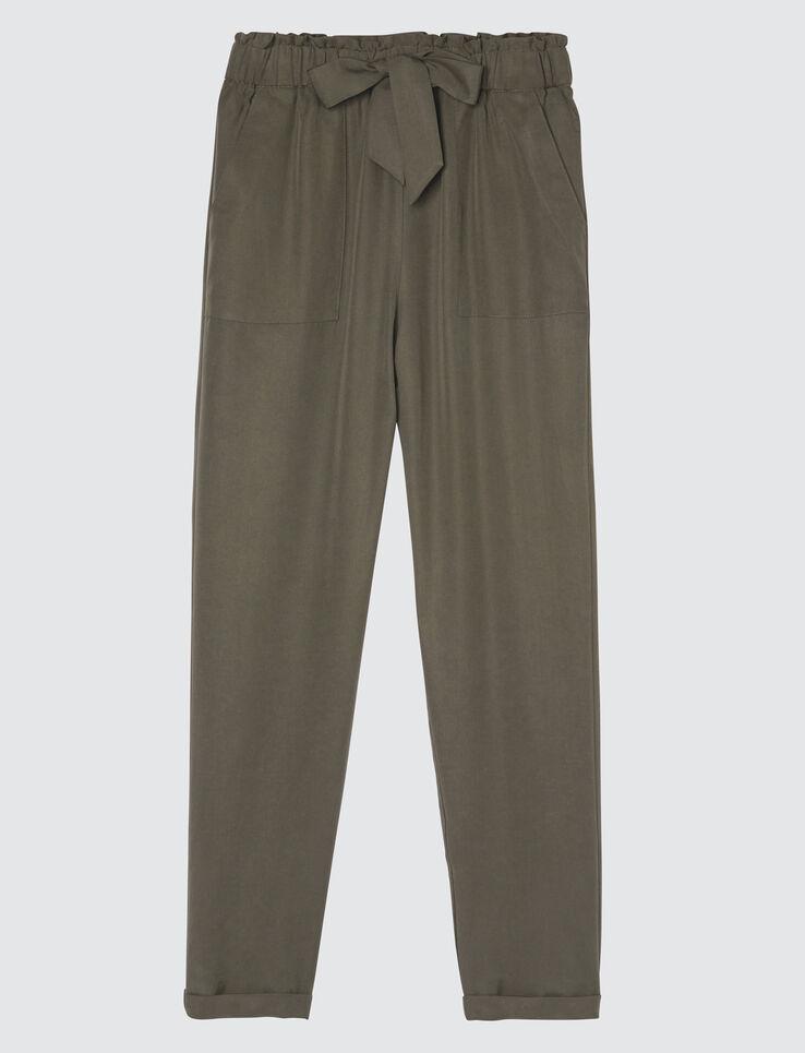 Pantalon fluide noué taille haute