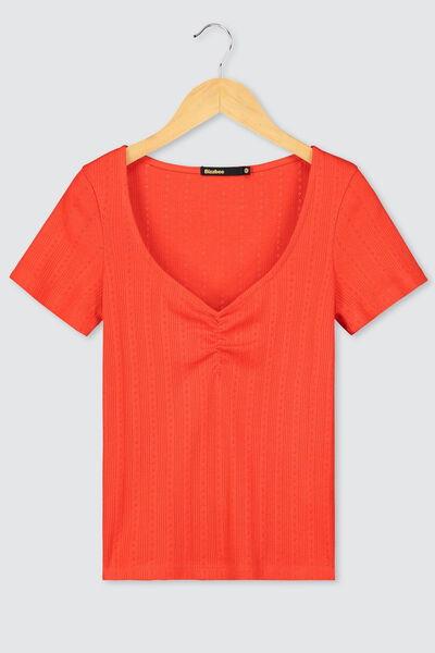 T-shirt col V pointelle en coton bio