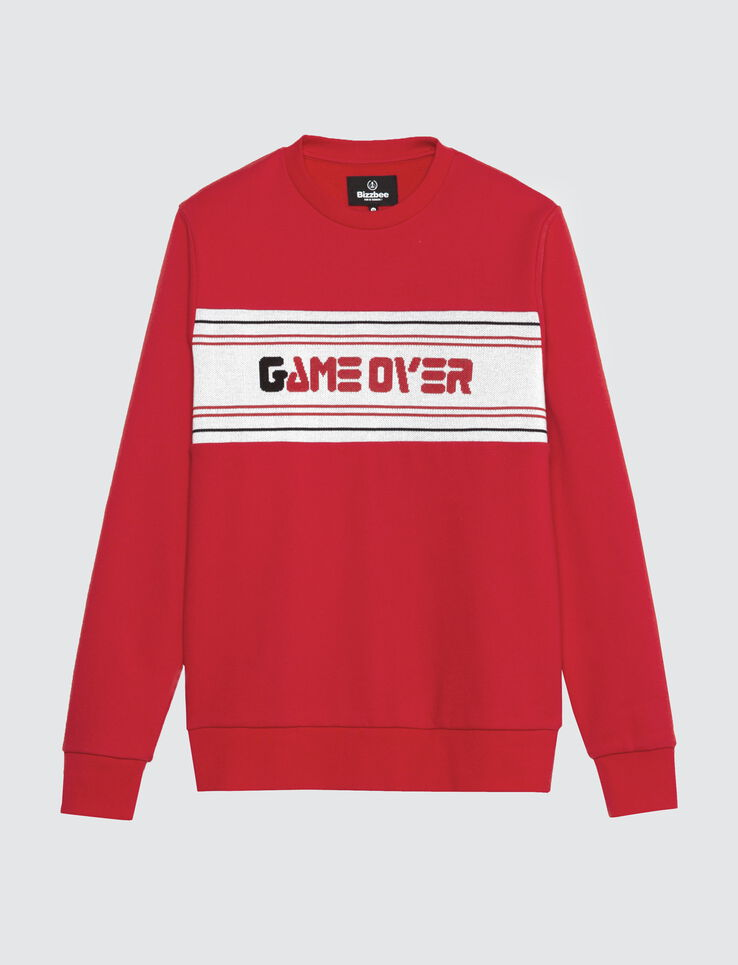 """Sweat col rond jacquard """"Game Over"""""""