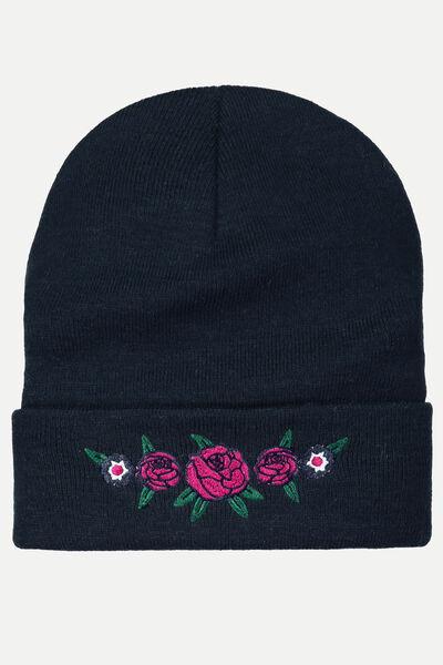Bonnet broderie fleurs