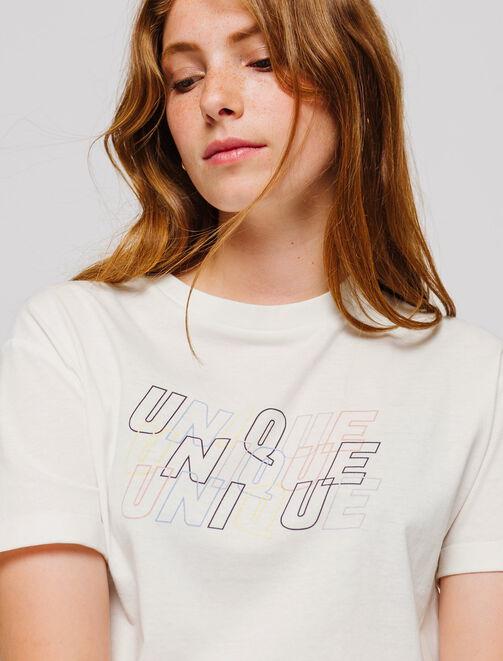 """T-shirt message """"UNIQUE"""" femme"""