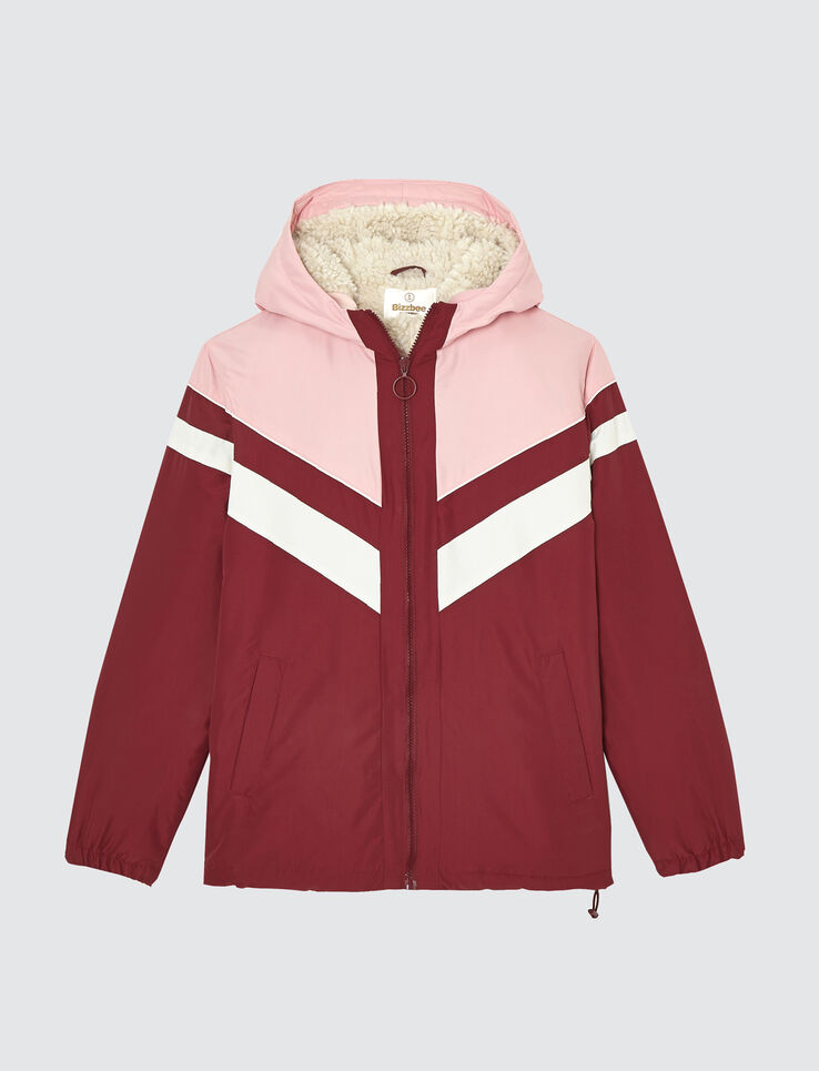 blouson capuche color block fourré sherpa