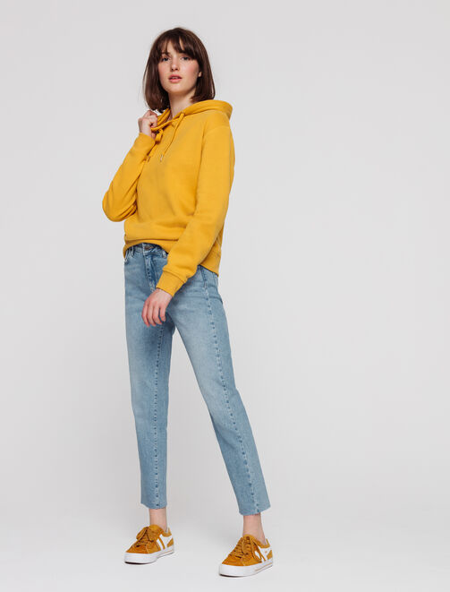 Jean cropped regular taille haute femme