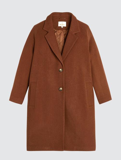 Manteau Mi Long Uni en Laine femme