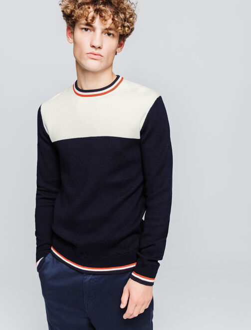 Pull colorblock col rayé homme