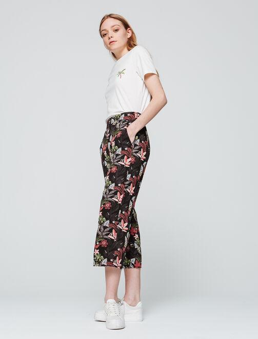 Pantalon court large imprimé élastiqué femme
