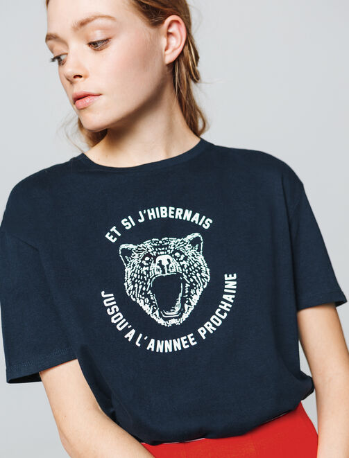 "T-shirt à message "" et si j'hibernais jusqu'à l'an femme"