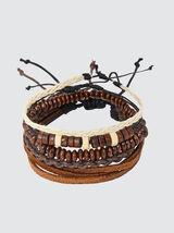 Set de bracelets écru et marron