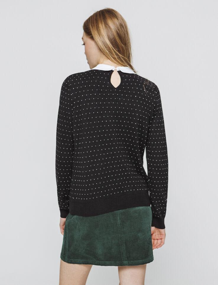 Pull jacquard col chemise